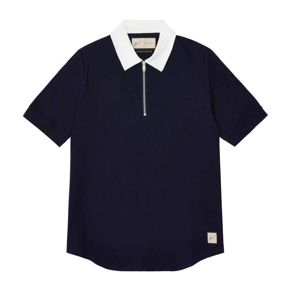Load image into Gallery viewer, Navy and Cream Salvatore Zip Neck Slim Fit Polo - P r é v u . S t u d i o .
