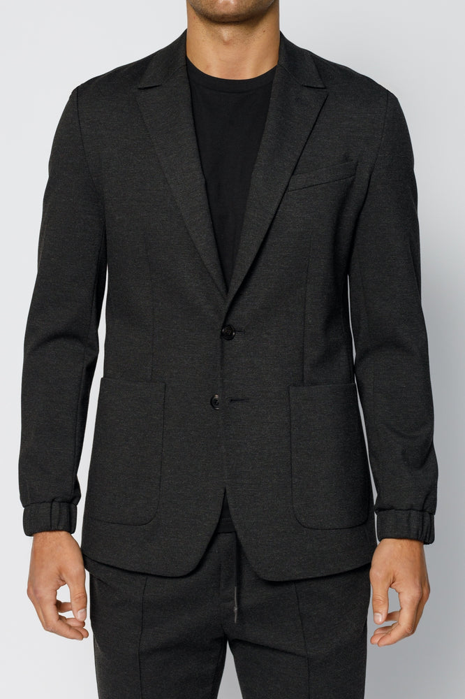 Load image into Gallery viewer, Charcoal Grey Clarendon Jersey Blazer - P r é v u . S t u d i o .