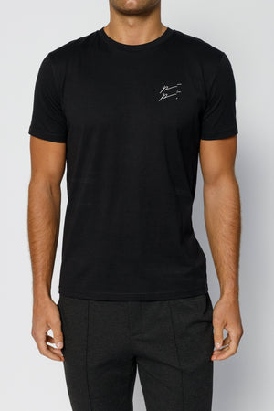 Load image into Gallery viewer, Black Double Logo Slim Fit T-shirt - P r é v u . S t u d i o .