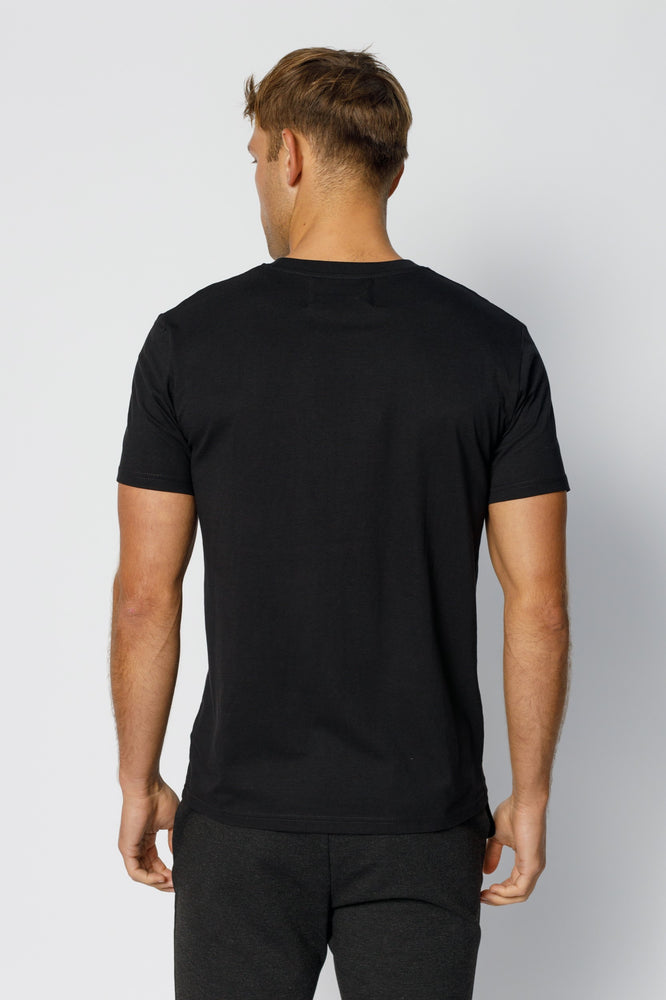 Black Double Logo Slim Fit T-shirt - P r é v u . S t u d i o .