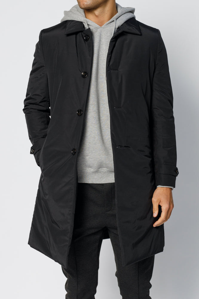 Black Cristallo Padded Car Coat - P r é v u . S t u d i o .