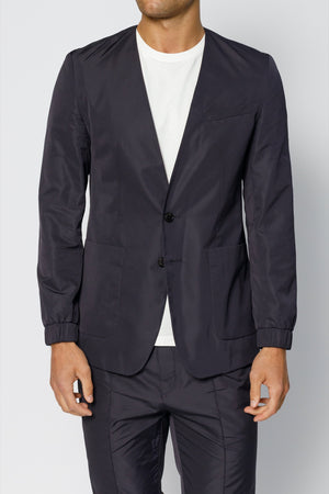 Load image into Gallery viewer, Navy Harley Collarless Technical Blazer - P r é v u . S t u d i o .