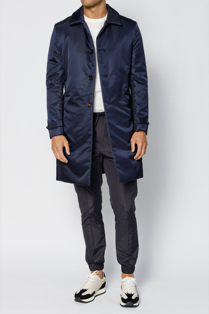 Navy Cristallo Padded Car Coat - P r é v u . S t u d i o .