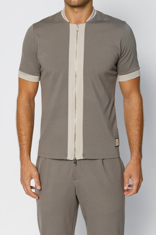Grey Aruba Panel Zip Slim Fit T-shirt - P r é v u . S t u d i o .