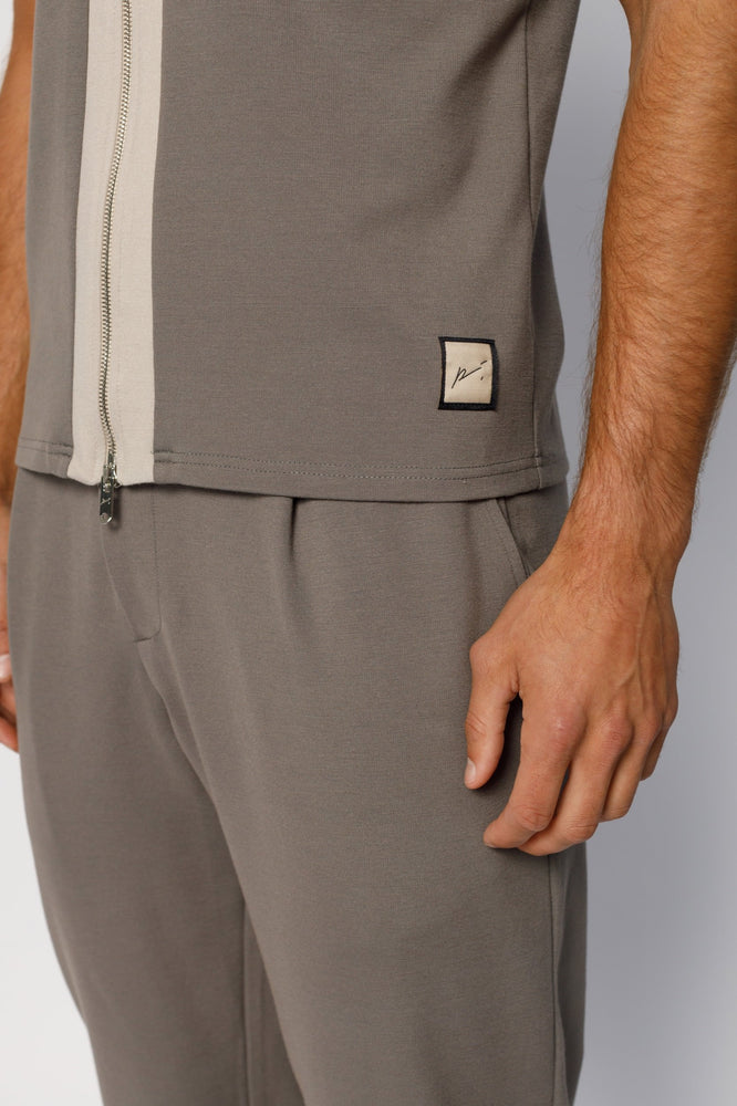 Load image into Gallery viewer, Grey Aruba Panel Zip Slim Fit T-shirt - P r é v u . S t u d i o .