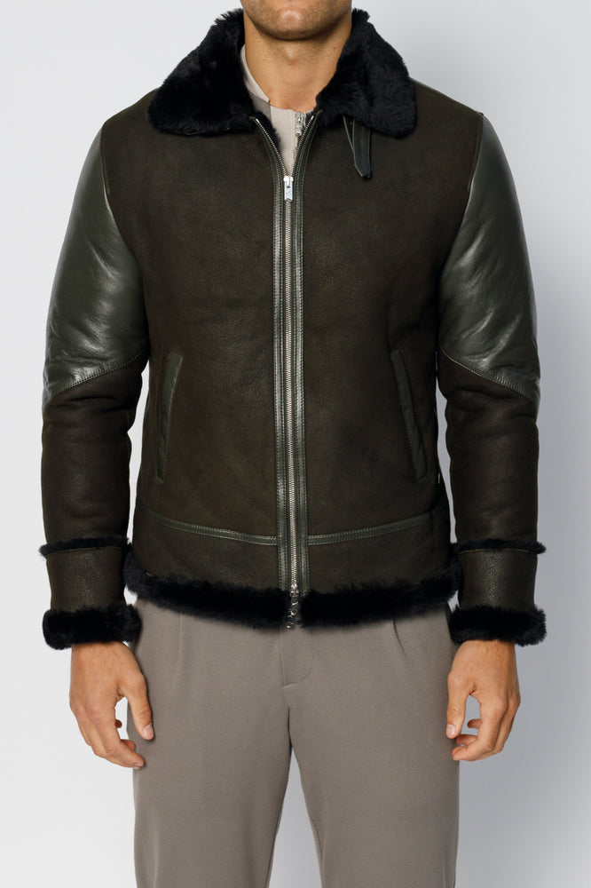 Moss Green Leather Shearling Aviator Jacket - P r é v u . S t u d i o .