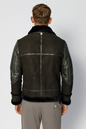 Load image into Gallery viewer, Moss Green Leather Shearling Aviator Jacket - P r é v u . S t u d i o .