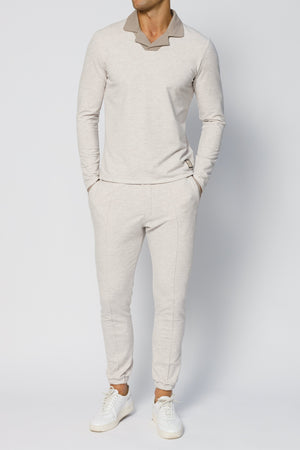 Load image into Gallery viewer, Beige Astral Marl Slim Fit Joggers - P r é v u . S t u d i o .
