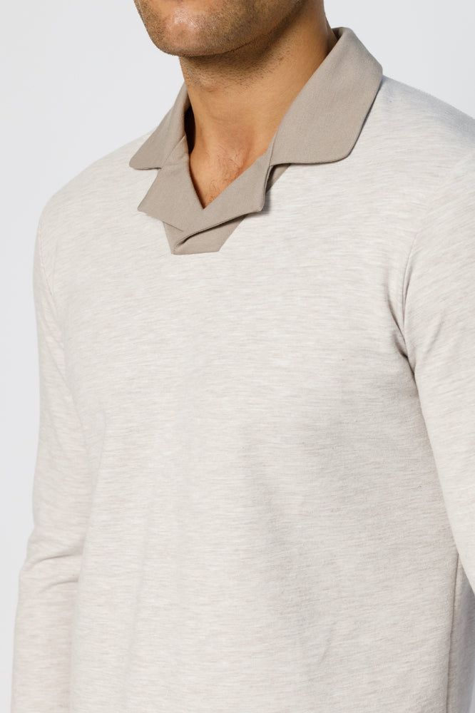 Beige Astral Revere Collar Slim Fit Long Sleeve Polo