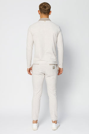 Load image into Gallery viewer, Beige Astral Revere Collar Slim Fit Long Sleeve Polo - P r é v u . S t u d i o .