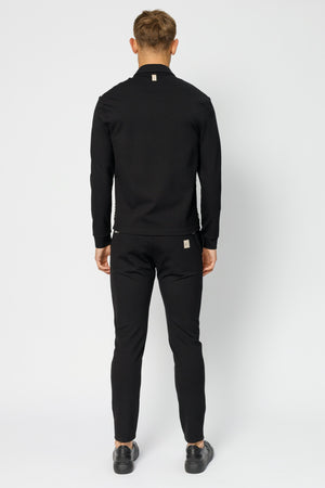 Load image into Gallery viewer, Black Sinclair Geo Panel Zip Through Slim Fit Shirt