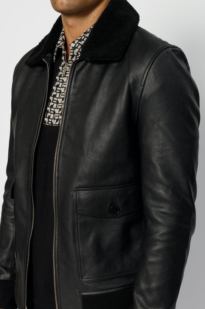 Black Ellwood Rd Leather Bomber Jacket - P r é v u . S t u d i o .