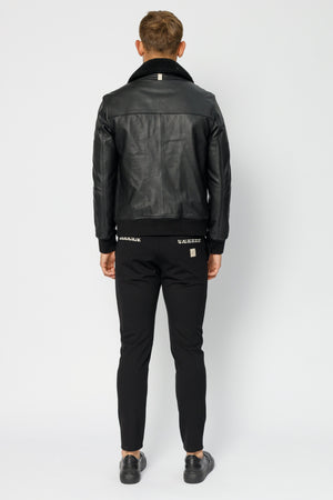 Black Ellwood Rd Leather Bomber Jacket