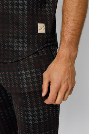 Load image into Gallery viewer, Black Norr Houndstooth Check Slim Fit T-shirt - P r é v u . S t u d i o .