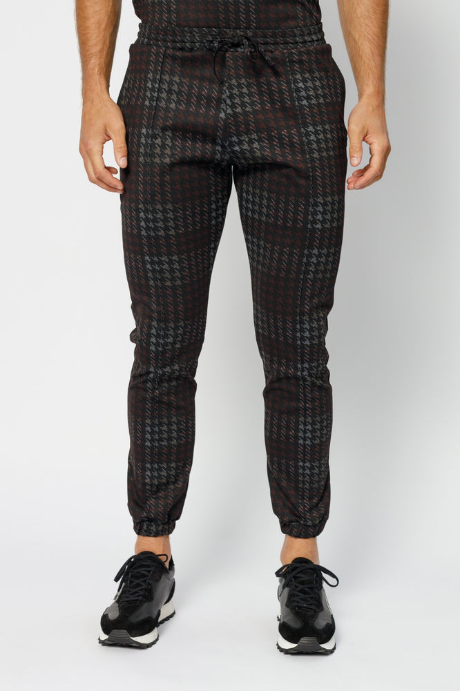 Load image into Gallery viewer, Black Norr Houndstooth Check Slim Fit Trousers - P r é v u . S t u d i o .