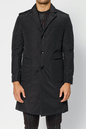 Load image into Gallery viewer, Black Lucano Padded Crombie Coat - P r é v u . S t u d i o .