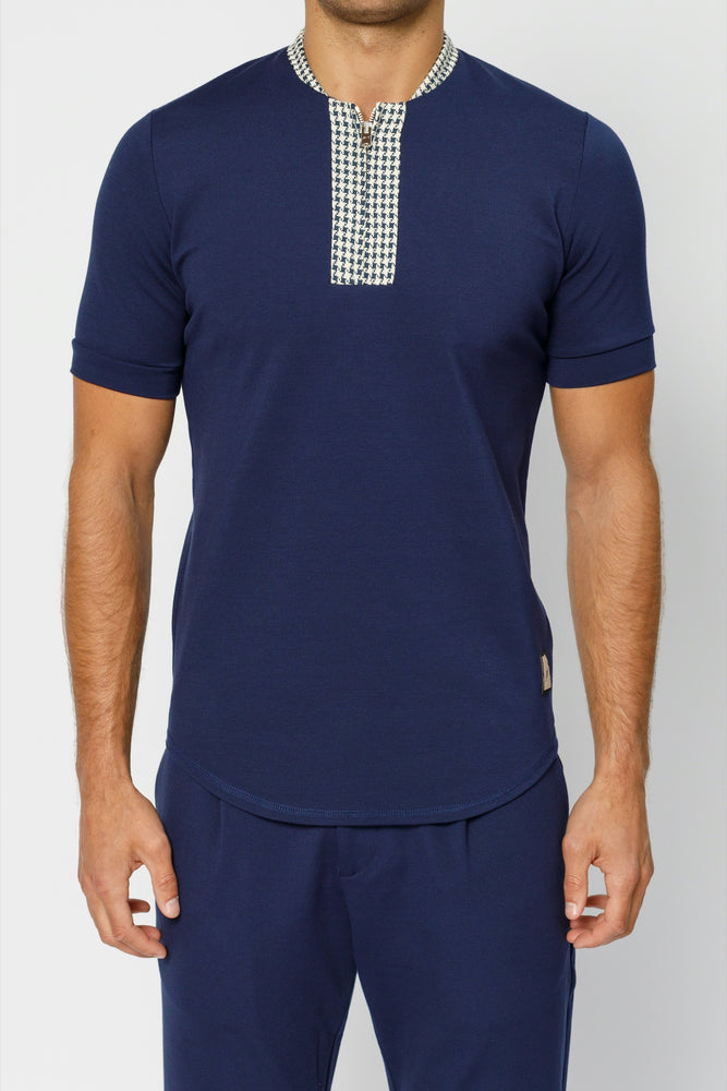 Load image into Gallery viewer, Navy Argenta Zip Neck Slim Fit T-shirt - P r é v u . S t u d i o .