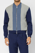 Navy Argenta Panelled Bomber Jacket