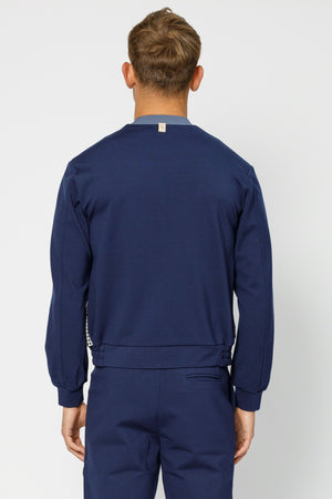 Load image into Gallery viewer, Navy Argenta Panelled Bomber Jacket - P r é v u . S t u d i o .