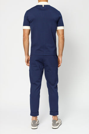 Load image into Gallery viewer, Navy Aruba Revere Collar Slim Fit Polo - P r é v u . S t u d i o .