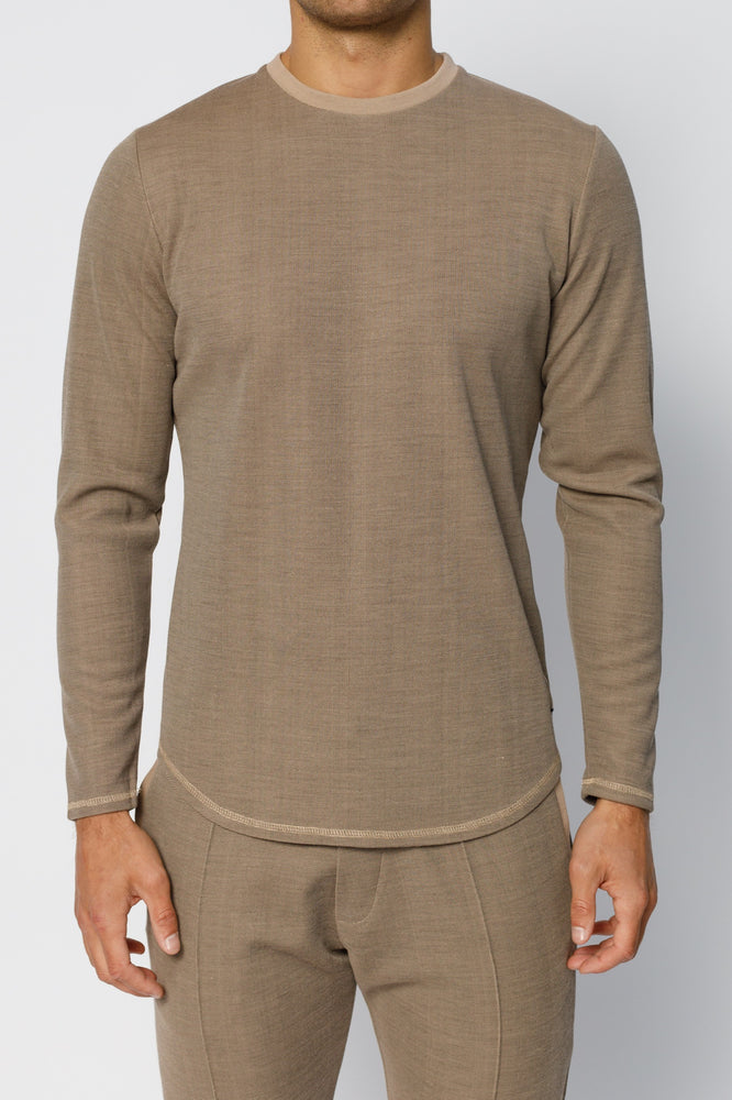 Camel Saxen Slim Fit Long Sleeve T-shirt - P r é v u . S t u d i o .