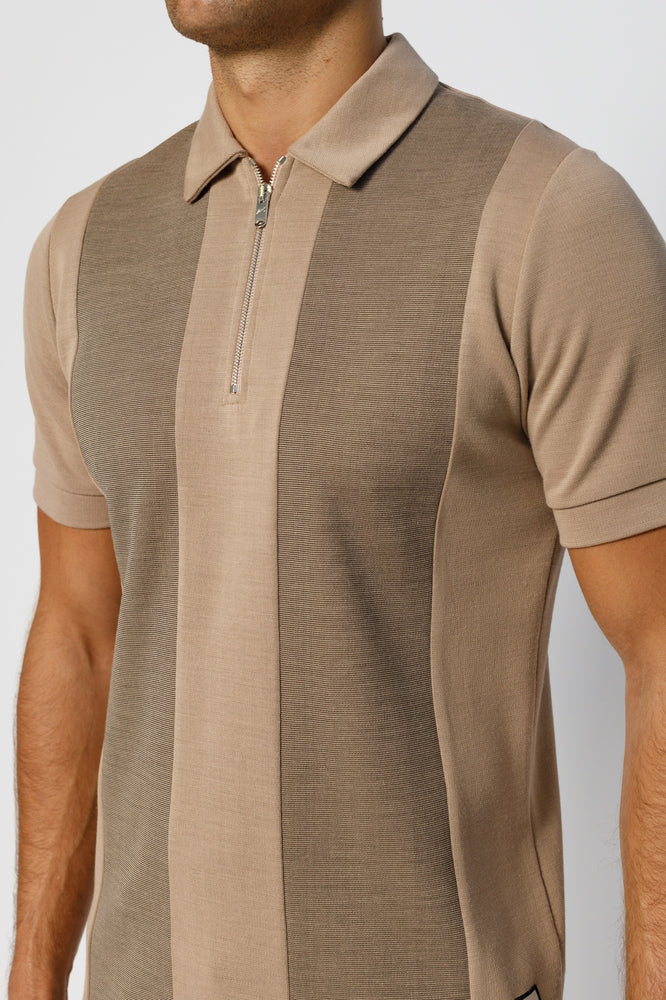 Camel Saxen Panel Zip Slim Fit Polo - P r é v u . S t u d i o .