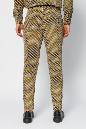 Load image into Gallery viewer, Black Santino Geo Print Slim Fit Trousers - P r é v u . S t u d i o .