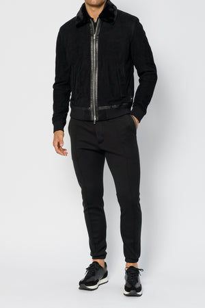 Load image into Gallery viewer, Black Delancey Street Suede Jacket - P r é v u . S t u d i o .