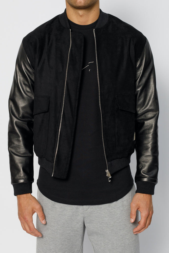 Black Alpha Leather Sleeve Bomber Jacket - P r é v u . S t u d i o .