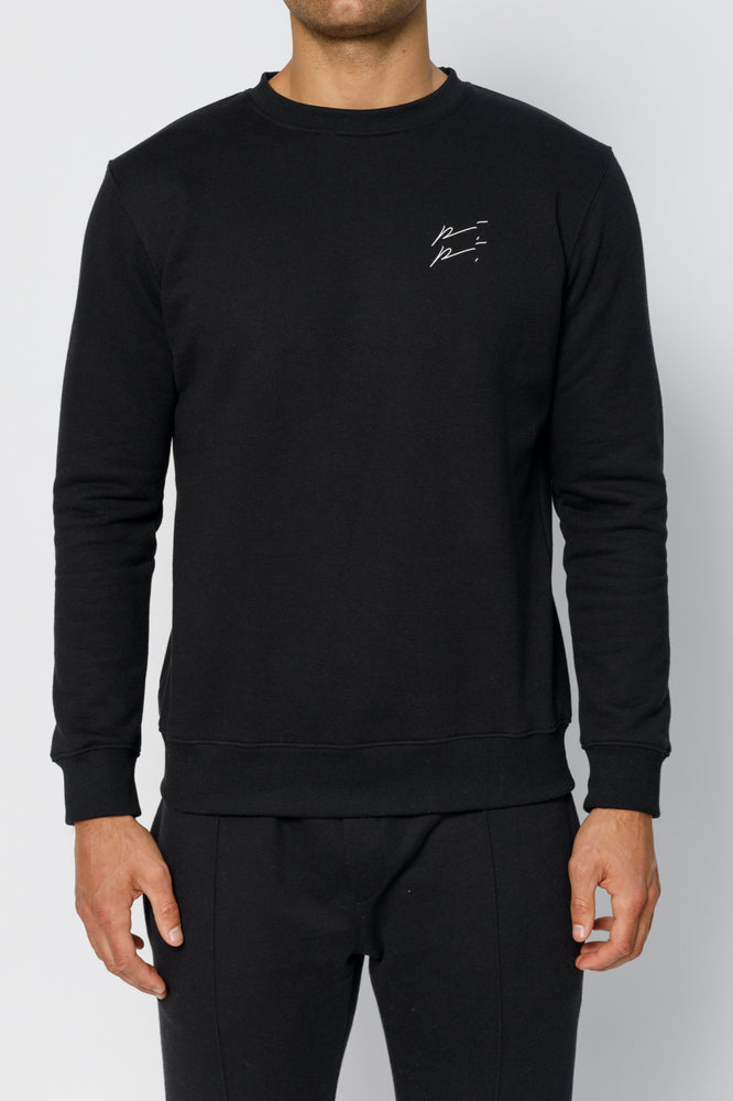 Black Double Logo Slim Fit Sweatshirt - P r é v u . S t u d i o .