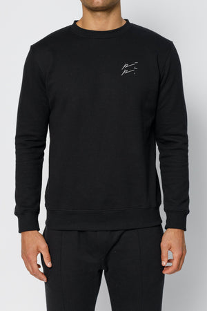 Load image into Gallery viewer, Black Double Logo Slim Fit Sweatshirt - P r é v u . S t u d i o .