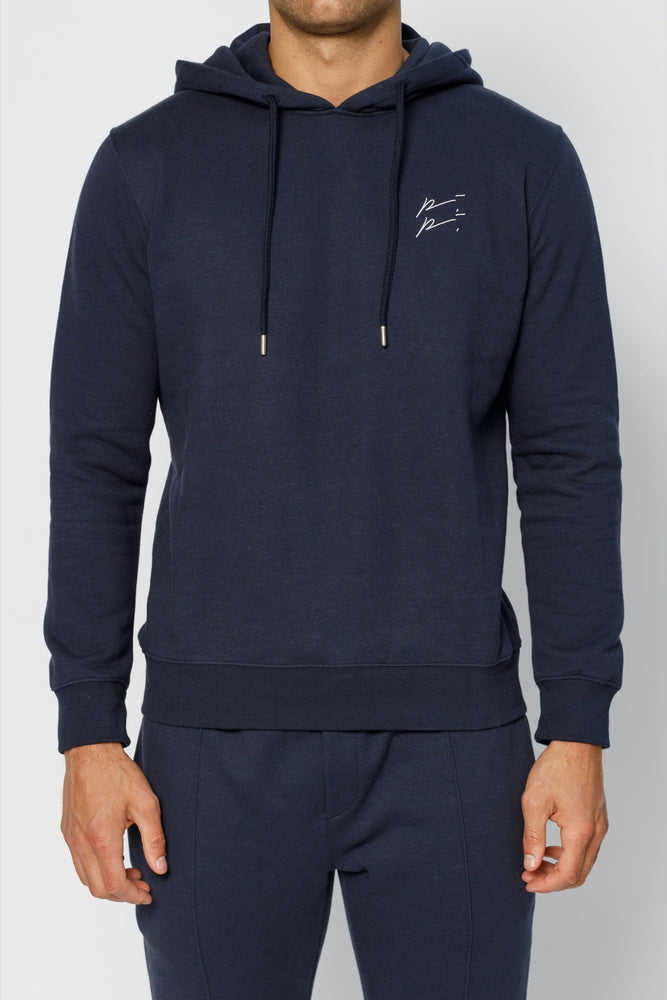Load image into Gallery viewer, Navy Double Logo Slim Fit Hoodie - P r é v u . S t u d i o .