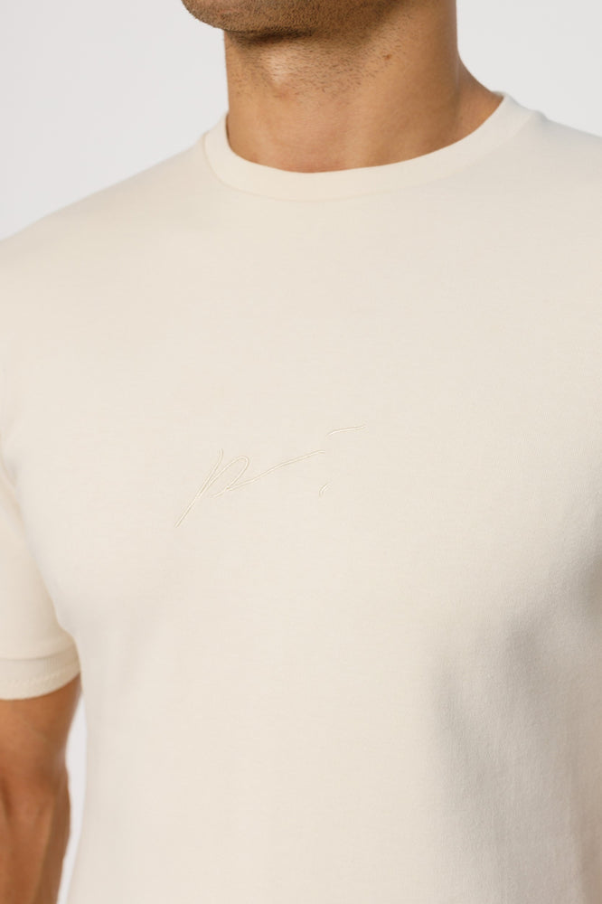 Load image into Gallery viewer, Ecru Signature Logo Print Slim Fit T-Shirt - P r é v u . S t u d i o .