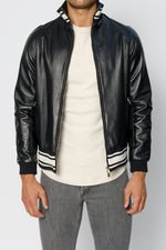 Black Elm Premium Leather Bomber Jacket - P r é v u . S t u d i o .