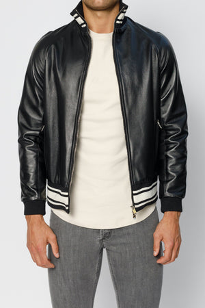 Load image into Gallery viewer, Black Elm Premium Leather Bomber Jacket - P r é v u . S t u d i o .