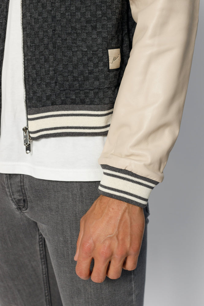 Charcoal Grey and Cream Solander Leather Sleeve Bomber Jacket - P r é v u . S t u d i o .