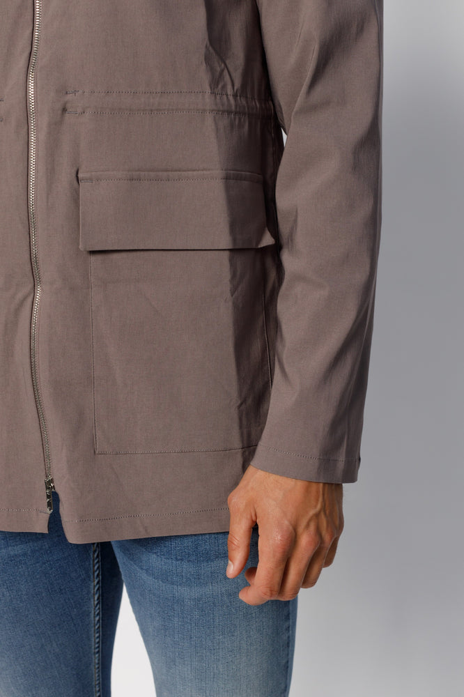Load image into Gallery viewer, Grey Signature Parka Jacket - P r é v u . S t u d i o .