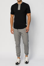 Grey Kaslo Check Slim Fit Formal Joggers - P r é v u . S t u d i o .