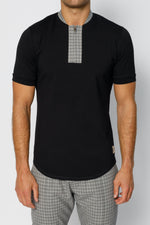 Black Kaslo Zip Neck Slim Fit T-shirt