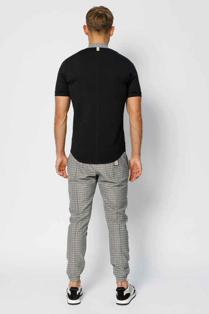 Grey Kaslo Check Slim Fit Formal Joggers