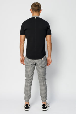 Load image into Gallery viewer, Grey Kaslo Check Slim Fit Formal Joggers - P r é v u . S t u d i o .