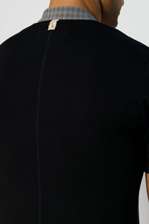 Load image into Gallery viewer, Black Kaslo Zip Neck Slim Fit T-shirt - P r é v u . S t u d i o .