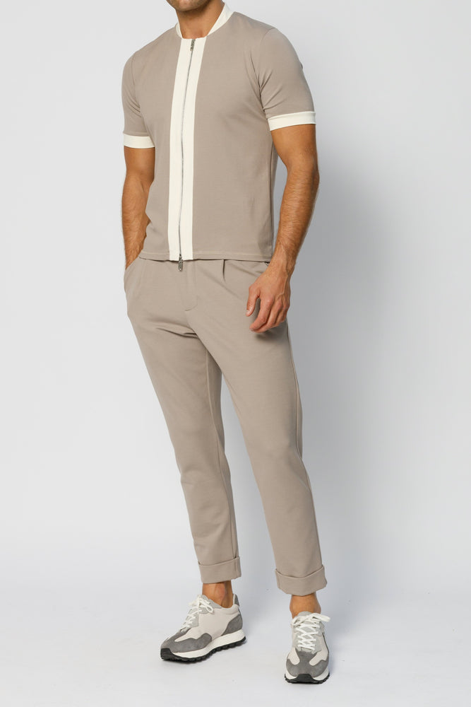 Beige Aruba Tailored Slim Fit Trousers - P r é v u . S t u d i o .