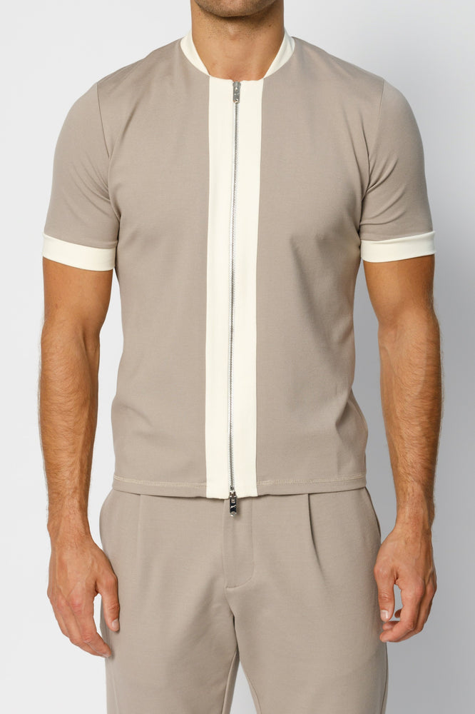 Beige Aruba Panel Zip Slim Fit T-shirt - P r é v u . S t u d i o .