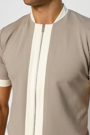 Load image into Gallery viewer, Beige Aruba Panel Zip Slim Fit T-shirt - P r é v u . S t u d i o .