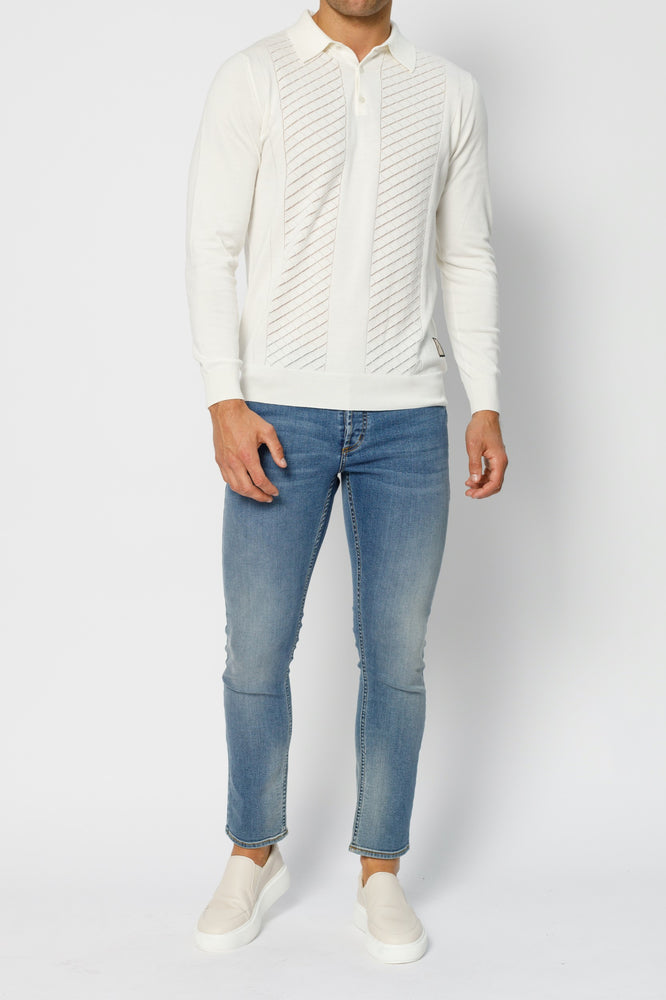 Load image into Gallery viewer, Ecru Princelet Knitted Long Sleeve Slim Fit Polo - P r é v u . S t u d i o .