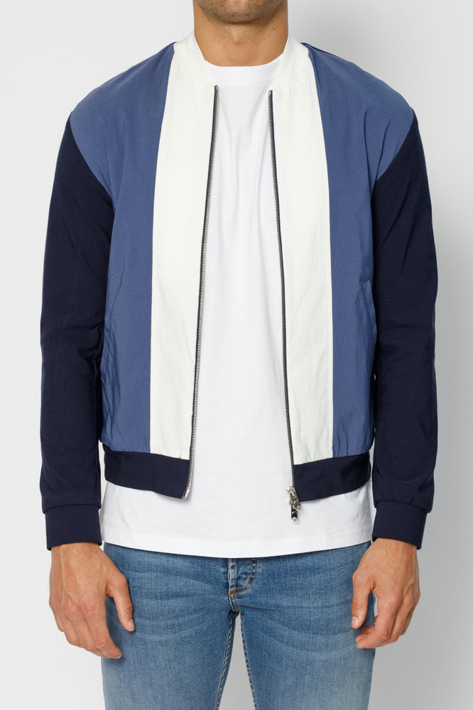 Dark Navy and Cream Casablanca Panel Bomber Jacket - P r é v u . S t u d i o .