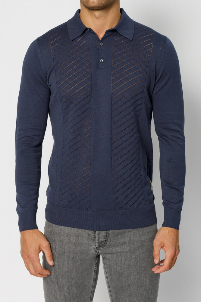 Navy Princelet Knitted Long Sleeve Slim Fit Polo
