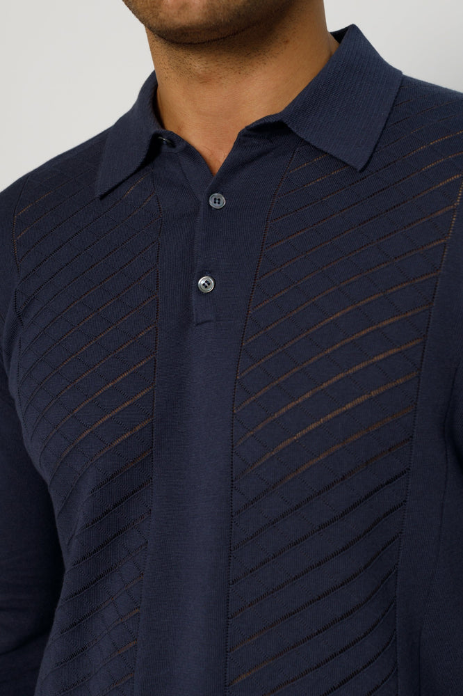 Navy Princelet Knitted Long Sleeve Slim Fit Polo - P r é v u . S t u d i o .