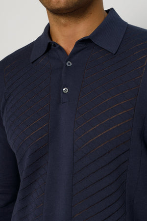 Load image into Gallery viewer, Navy Princelet Knitted Long Sleeve Slim Fit Polo - P r é v u . S t u d i o .
